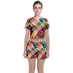 Colorful Shapes                         Crop Top And Shorts Co-ord Set by LalyLauraFLM
