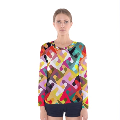 Colorful Shapes                               Women Long Sleeve T-shirt by LalyLauraFLM