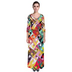Colorful Shapes                                 Quarter Sleeve Maxi Dress by LalyLauraFLM