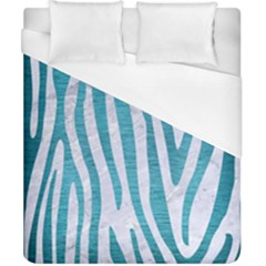 Skin4 White Marble & Teal Brushed Metal Duvet Cover (california King Size) by trendistuff