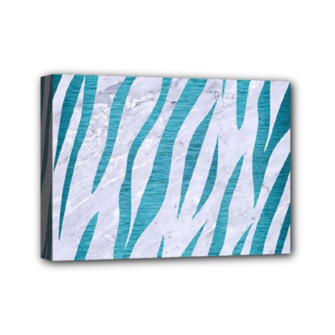Skin3 White Marble & Teal Brushed Metal (r) Mini Canvas 7  X 5  by trendistuff