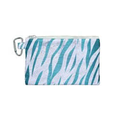 Skin3 White Marble & Teal Brushed Metal (r) Canvas Cosmetic Bag (small) by trendistuff