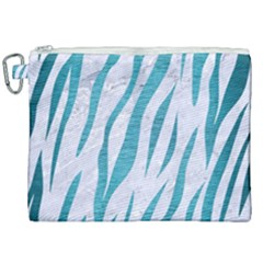 Skin3 White Marble & Teal Brushed Metal (r) Canvas Cosmetic Bag (xxl)