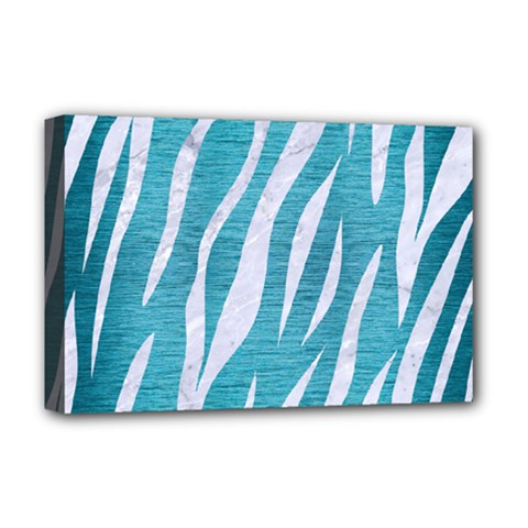 Skin3 White Marble & Teal Brushed Metal Deluxe Canvas 18  X 12