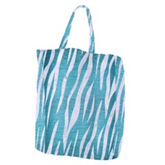 Skin3 White Marble & Teal Brushed Metal Giant Grocery Zipper Tote by trendistuff
