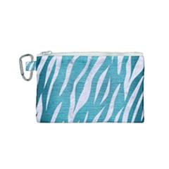 Skin3 White Marble & Teal Brushed Metal Canvas Cosmetic Bag (small) by trendistuff