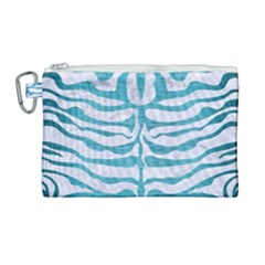 Skin2 White Marble & Teal Brushed Metal (r) Canvas Cosmetic Bag (large) by trendistuff