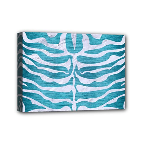 Skin2 White Marble & Teal Brushed Metal Mini Canvas 7  X 5  by trendistuff