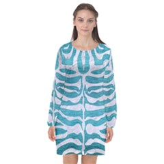 Skin2 White Marble & Teal Brushed Metal Long Sleeve Chiffon Shift Dress
