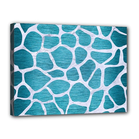 Skin1 White Marble & Teal Brushed Metal (r) Canvas 16  X 12  by trendistuff