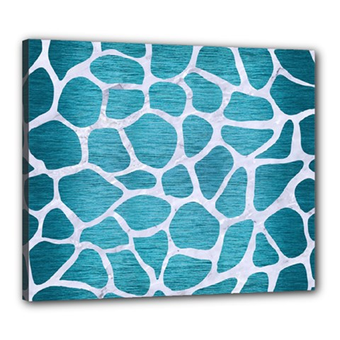 Skin1 White Marble & Teal Brushed Metal (r) Canvas 24  X 20  by trendistuff