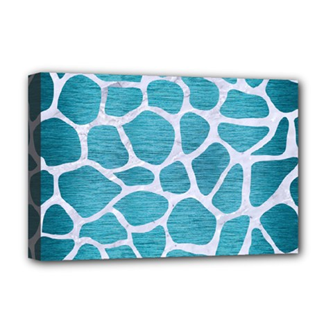 Skin1 White Marble & Teal Brushed Metal (r) Deluxe Canvas 18  X 12