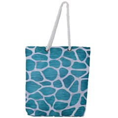 Skin1 White Marble & Teal Brushed Metal (r) Full Print Rope Handle Tote (large) by trendistuff