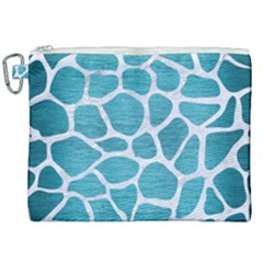Skin1 White Marble & Teal Brushed Metal (r) Canvas Cosmetic Bag (xxl) by trendistuff