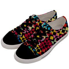Colorful Rhombus And Triangles                          Men s Low Top Canvas Sneakers by LalyLauraFLM