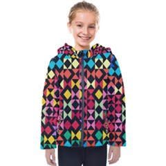 Colorful Rhombus And Triangles                               Kids  Hooded Puffer Jacket