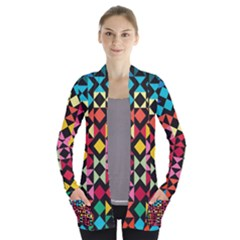 Colorful Rhombus And Triangles                          Women s Open Front Pockets Cardigan