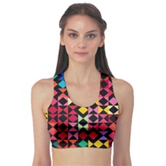 Colorful Rhombus And Triangles                          Women s Sports Bra by LalyLauraFLM