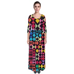 Colorful Rhombus And Triangles                                  Quarter Sleeve Maxi Dress