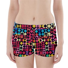 Colorful Rhombus And Triangles                                 Boyleg Bikini Wrap Bottoms by LalyLauraFLM