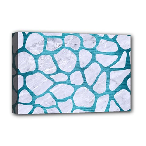 Skin1 White Marble & Teal Brushed Metal Deluxe Canvas 18  X 12