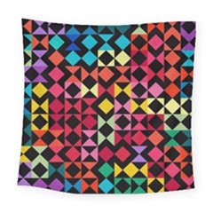 Colorful Rhombus And Triangles                               Square Tapestry by LalyLauraFLM