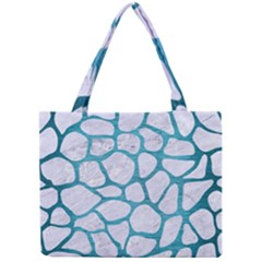 Skin1 White Marble & Teal Brushed Metal Mini Tote Bag by trendistuff