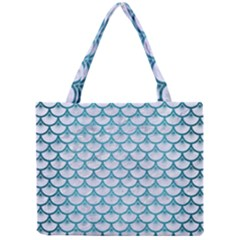 Scales3 White Marble & Teal Brushed Metal (r) Mini Tote Bag by trendistuff