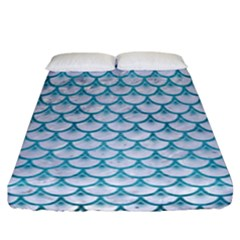 Scales3 White Marble & Teal Brushed Metal (r) Fitted Sheet (california King Size) by trendistuff