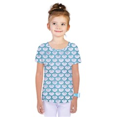 Scales3 White Marble & Teal Brushed Metal (r) Kids  One Piece Tee