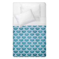 Scales3 White Marble & Teal Brushed Metal Duvet Cover (single Size) by trendistuff