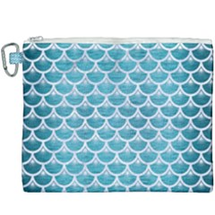 Scales3 White Marble & Teal Brushed Metal Canvas Cosmetic Bag (xxxl)
