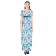 Scales2 White Marble & Teal Brushed Metal (r) Short Sleeve Maxi Dress