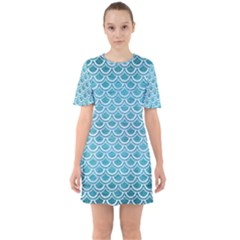 Scales2 White Marble & Teal Brushed Metal Sixties Short Sleeve Mini Dress