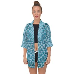 Scales2 White Marble & Teal Brushed Metal Open Front Chiffon Kimono