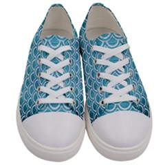 Scales2 White Marble & Teal Brushed Metal Women s Low Top Canvas Sneakers