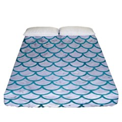 Scales1 White Marble & Teal Brushed Metal (r) Fitted Sheet (california King Size) by trendistuff