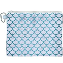 Scales1 White Marble & Teal Brushed Metal (r) Canvas Cosmetic Bag (xxxl) by trendistuff