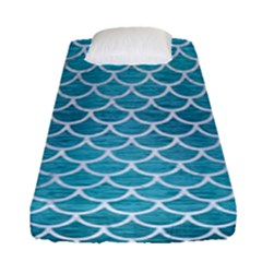 Scales1 White Marble & Teal Brushed Metal Fitted Sheet (single Size) by trendistuff