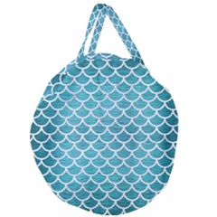 Scales1 White Marble & Teal Brushed Metal Giant Round Zipper Tote by trendistuff