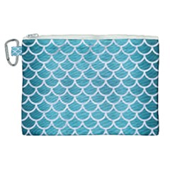 Scales1 White Marble & Teal Brushed Metal Canvas Cosmetic Bag (xl) by trendistuff