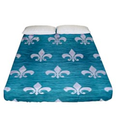 Royal1 White Marble & Teal Brushed Metal (r) Fitted Sheet (king Size) by trendistuff