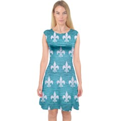 Royal1 White Marble & Teal Brushed Metal (r) Capsleeve Midi Dress