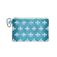 Royal1 White Marble & Teal Brushed Metal (r) Canvas Cosmetic Bag (small)