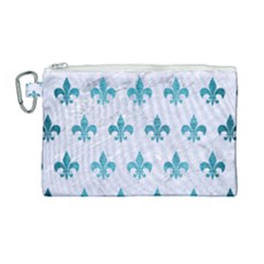 Royal1 White Marble & Teal Brushed Metal Canvas Cosmetic Bag (large) by trendistuff