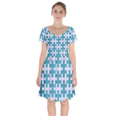Puzzle1 White Marble & Teal Brushed Metal Short Sleeve Bardot Dress by trendistuff