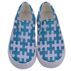 Puzzle1 White Marble & Teal Brushed Metal Kids  Canvas Slip Ons