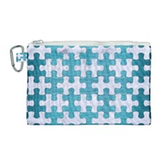 Puzzle1 White Marble & Teal Brushed Metal Canvas Cosmetic Bag (large) by trendistuff