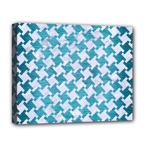 Houndstooth2 White Marble & Teal Brushed Metal Deluxe Canvas 20  X 16   by trendistuff