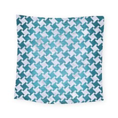 Houndstooth2 White Marble & Teal Brushed Metal Square Tapestry (small) by trendistuff